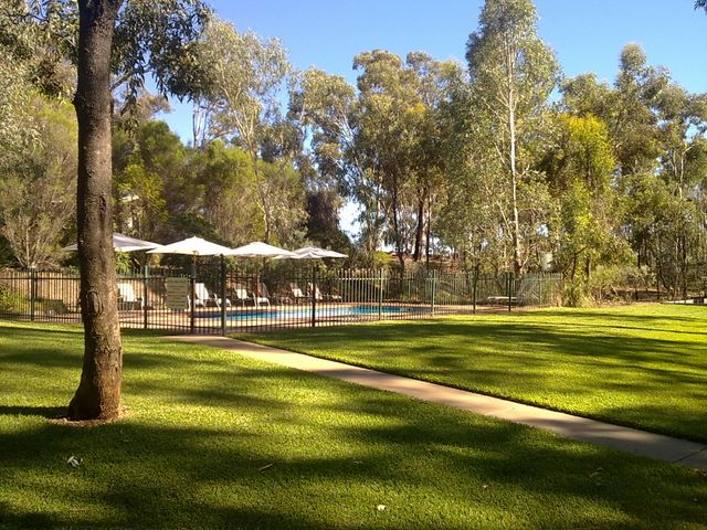 Luscious, shaded lawns for a comfortable campsite at A-Line Holiday Park