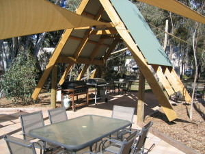 A-frame ceilings keep campers comfortable in the heat at A-line Holiday Park