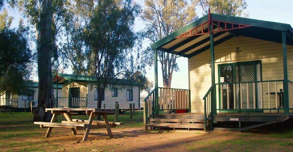 Mildura cabins with riverside views next door to red gum forest