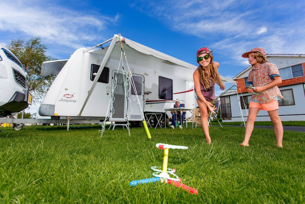 Lush, grassy campsites at the BIG4 Ulverstone Holiday Park