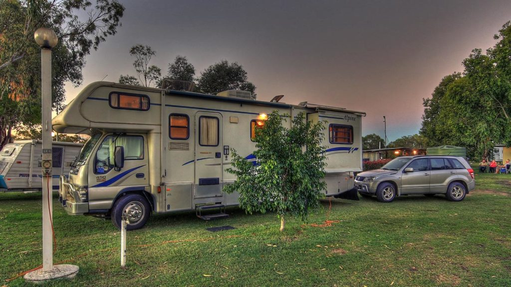 Goondiwindi Holiday Park provides room for large rigs on pleasing grass campsites. One of 17 drive-through sites shown