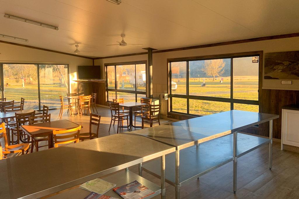 Enjoy breakfast in the pleasant clean, camp kitchen at Khancoban Lakeside Caravan Park