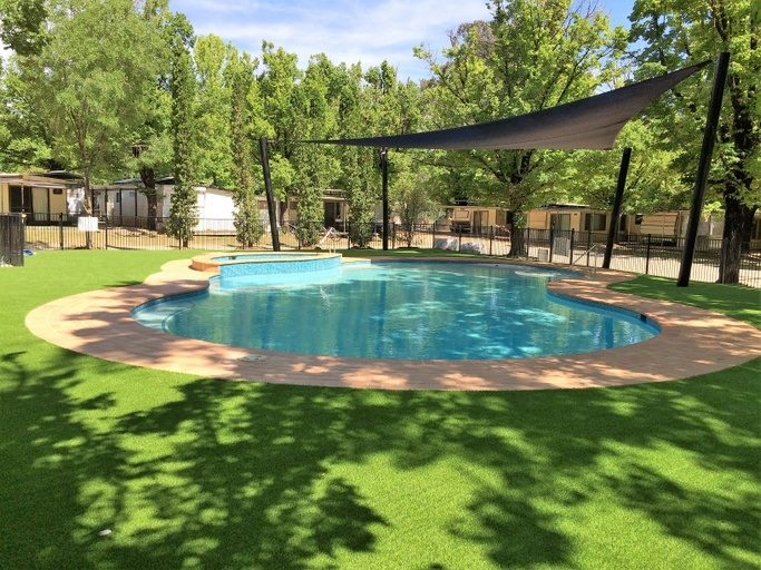 The shaded pool is heated for part of the year