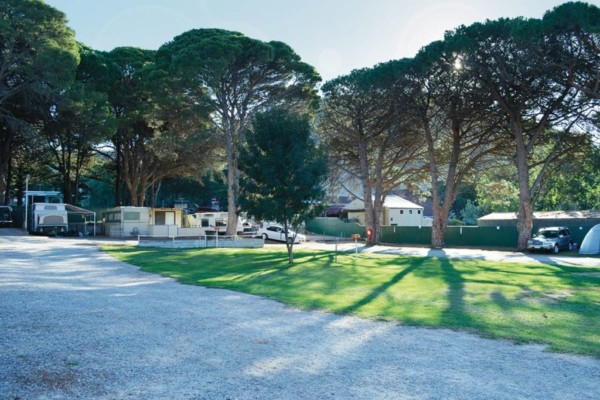 Beautiful grassy campsites at the Second Valley Caravan Park
