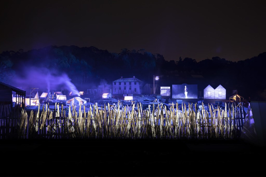 Dramatic street scenes of the Eureka Stockade during the AURA light show at Sovereign Hill