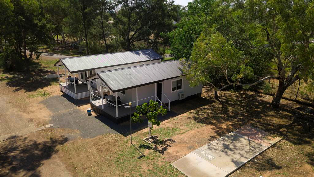 Aerial view of new cabins at the Gulgong Tourist Park