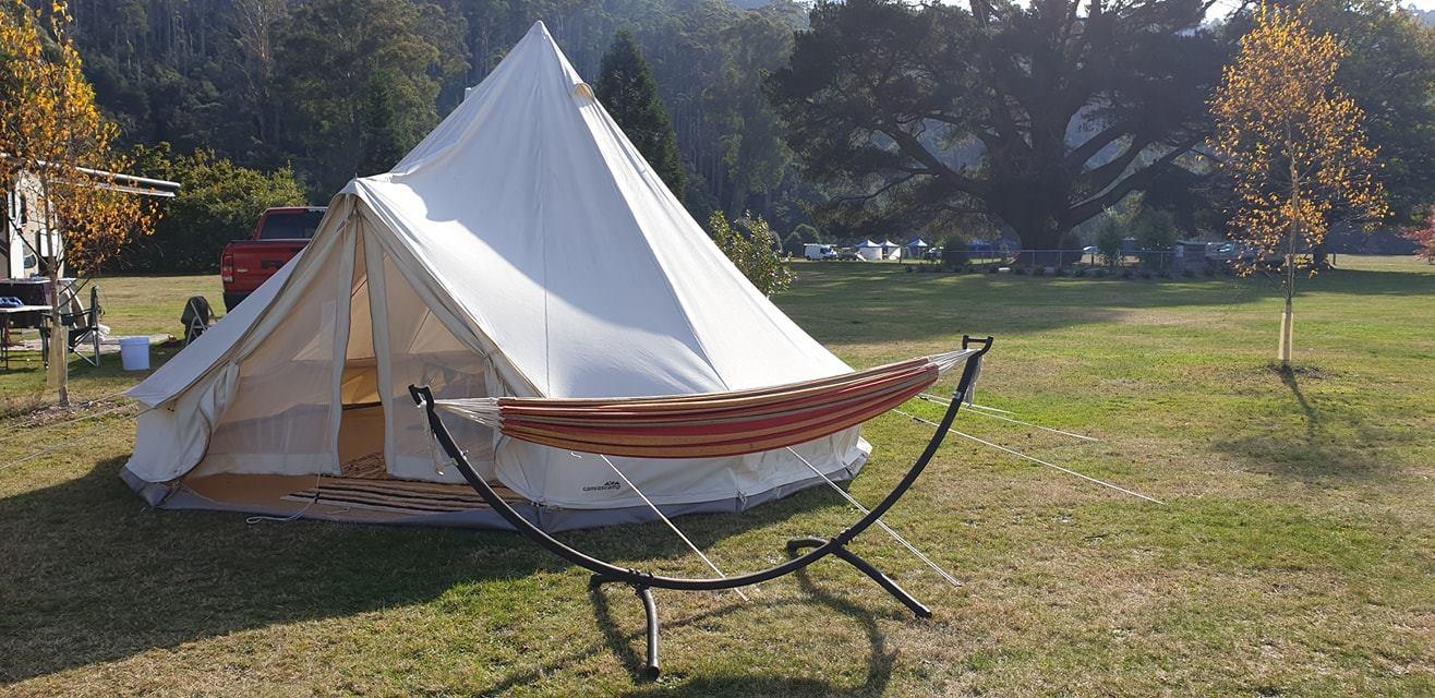 Glamping style camping at Myrtle Park Campground in Targa, Tasmania