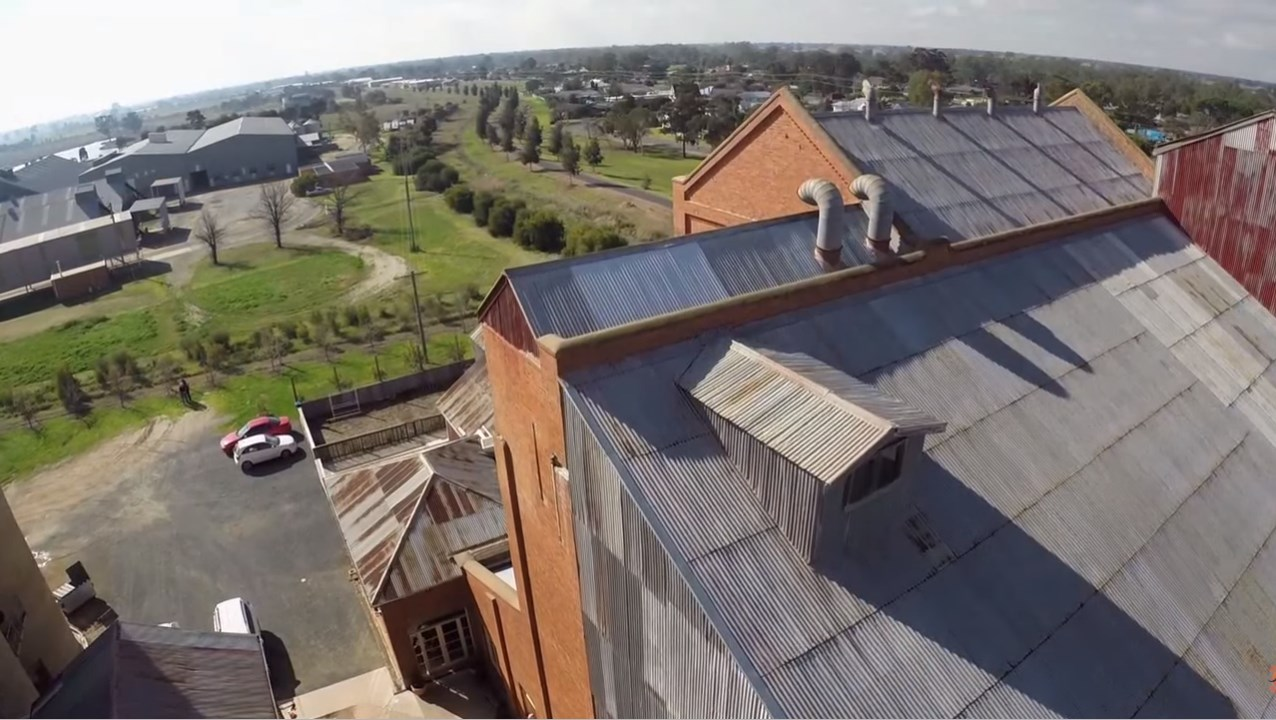 The tin roof on the Corowa whisky distillery was repaired with original, re-rolled tin
