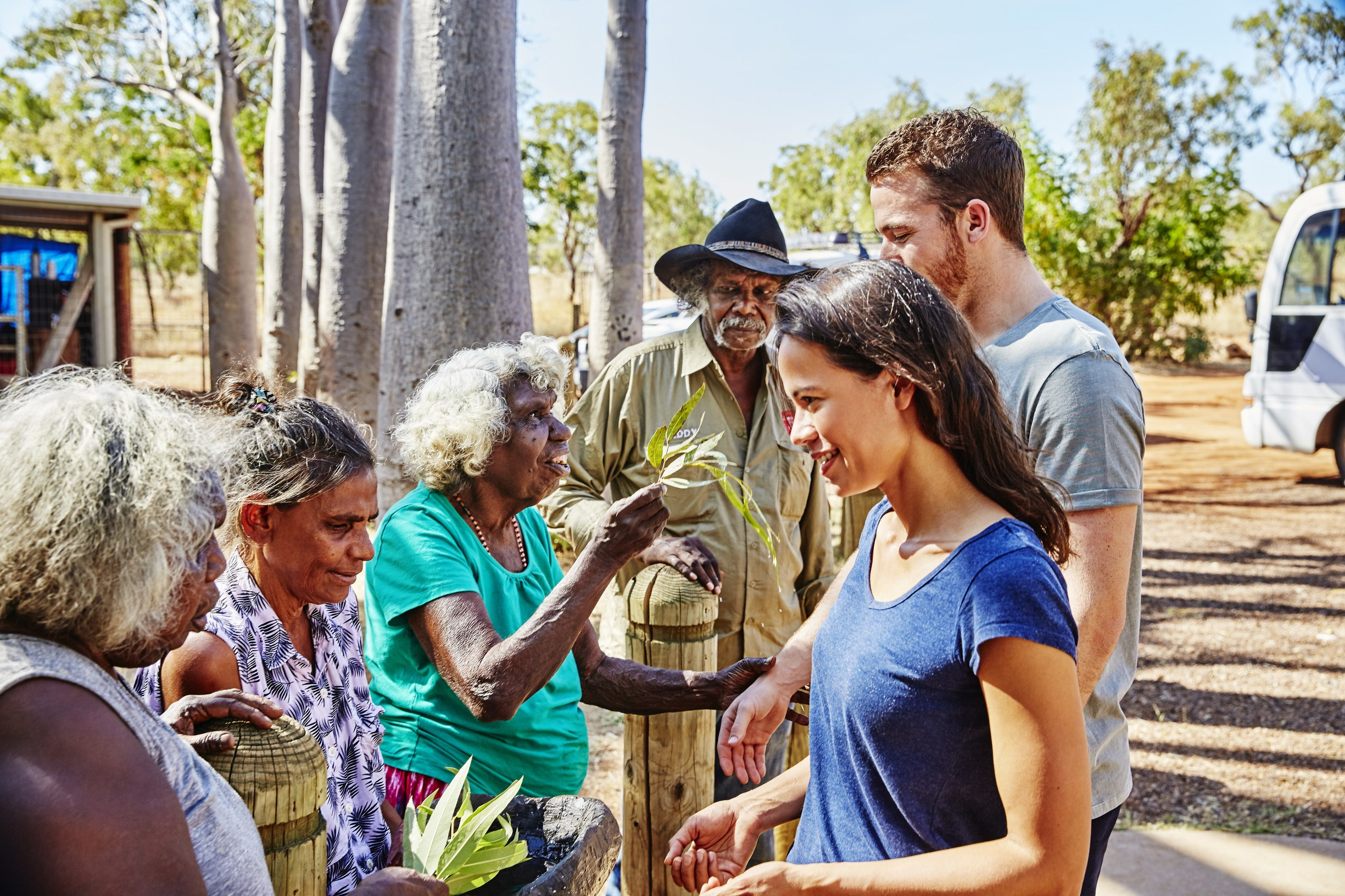 Local Indigenous hosts welcome travellers to the Waringarri Aboriginal Arts Centre