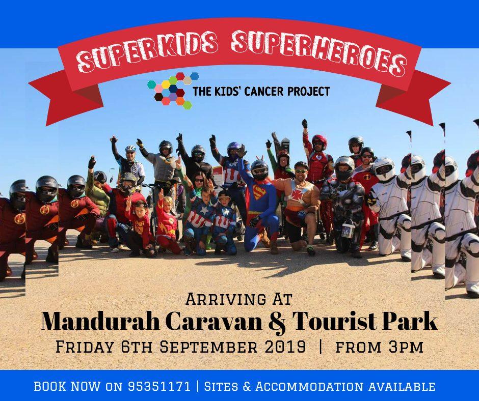 superheroes visit Mandurah Caravan and Tourist Park to raise funds for the Kids Cancer Project