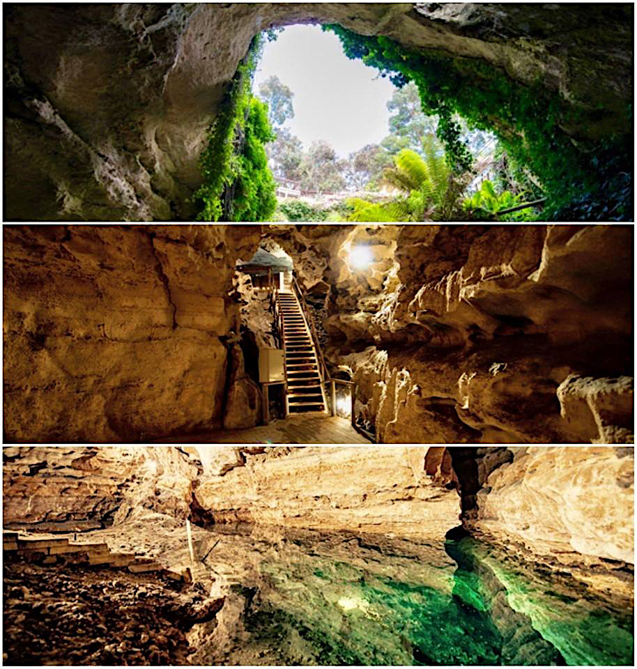 Access the intriguing Engelbrecht Caves via a sinkhole. Although a 'dry cave' it has two gorgeous jade coloured pools popular with divers