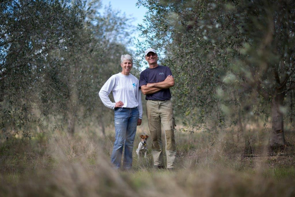 Marlie and Peter grow, preserve and press olives grown on site to create extra virgin olive oil at Salute Olivia