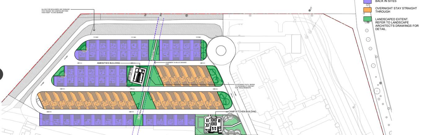 Plans for the caravan park at Canberra Park show 25 drive-through sites