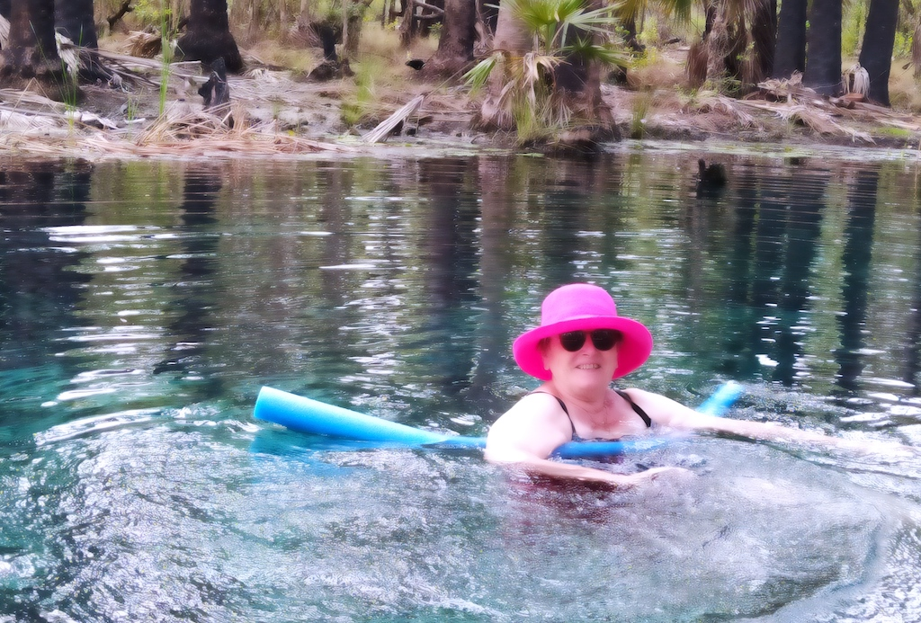 Alison Huth coasting at the Bitter Springs