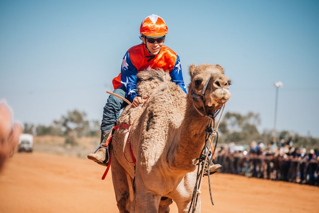 Racing action at the Boulia Camel Races