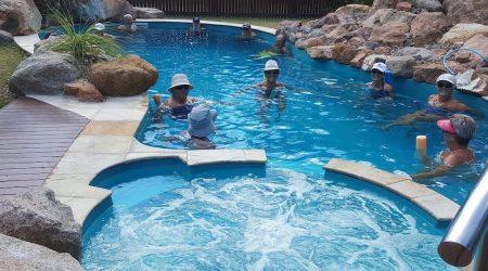 Guests 18 years and older can enjoy glow-rock heated pool at Bush Oasis Caravan Park