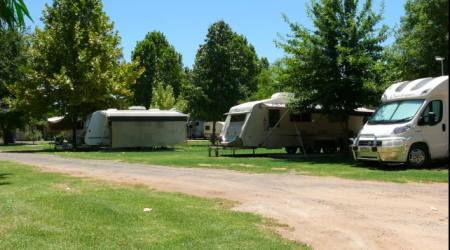 Beautiful grassy shaded campsites at the Mudgee Riverside Caravan and Tourist Park