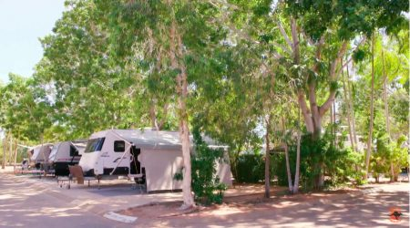 Paved roads lead to comfortable, shaded campsites at RAC Cable Beach Holiday Park, formally Palm Grove Holiday Park